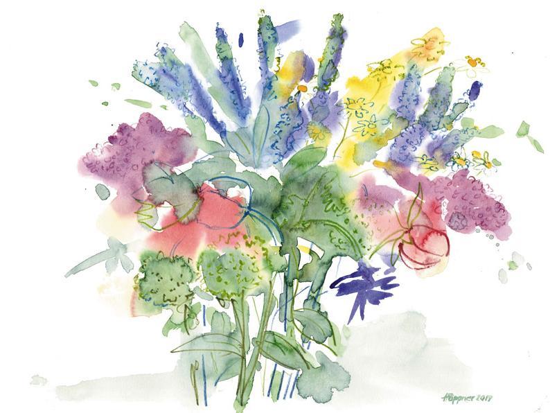 Blumenstrauß in Aquarell